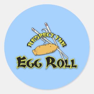 Respete el rollo de huevo etiqueta redonda