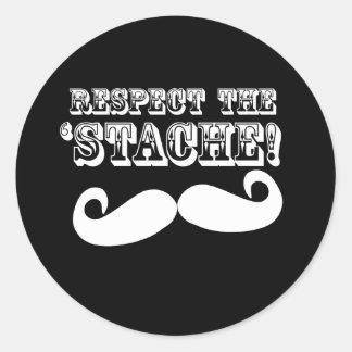 Respete el 'Stache Pegatinas Redondas