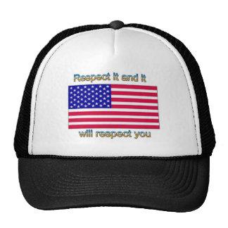 Respete la bandera gorros