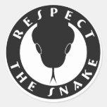 """Respete la serpiente 3"""" los pegatinas etiqueta redonda"""