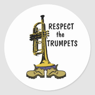 Respete las trompetas pegatinas redondas