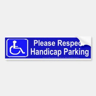 Respete por favor el estacionamiento de la desvent pegatina de parachoque