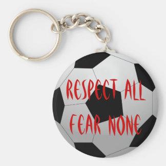Respete todos, miedo ningunos balón de fútbol llavero redondo tipo pin