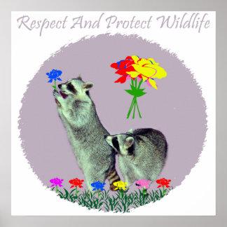 Respete y proteja la fauna poster
