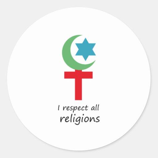 respeto todo el religions.png pegatina redonda