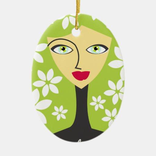 Respetuoso del medio ambiente adorno navideño ovalado de cerámica