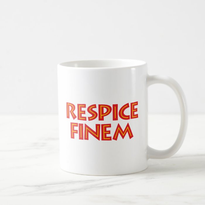 respice finem considers the end coffee mug