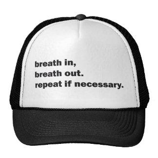 respiración en la respiración hacia fuera gorras