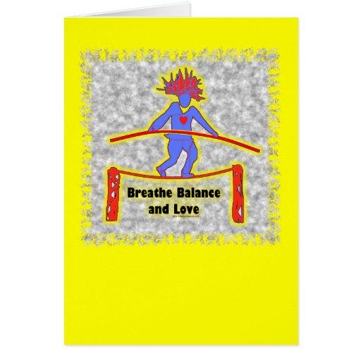 Respiración y amor de la balanza en gris tarjeta de felicitación