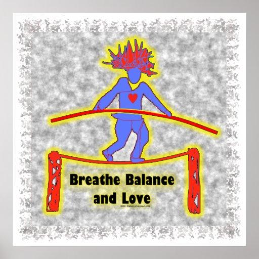 Respiración y amor de la balanza póster