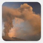 Respiradero de la cumbre del monte Etna, Sicilia, Pegatina Cuadrada