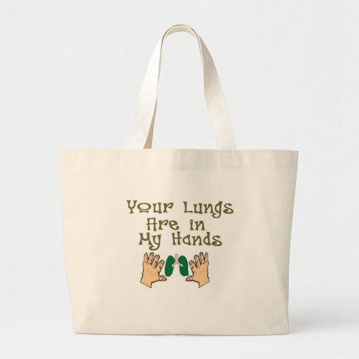 """Respiratory Therapist Gifts """"Lungs in my hands"""" Bags"""