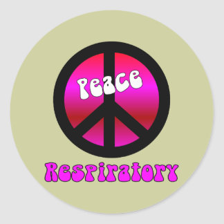 "Respiratory Therapist Gifts ""PEACE"" symbol Classic Round Sticker"