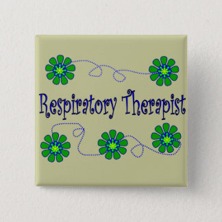 Respiratory Therapist Retro Flowers Design Button