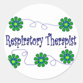 Respiratory Therapist Retro Flowers Design Classic Round Sticker