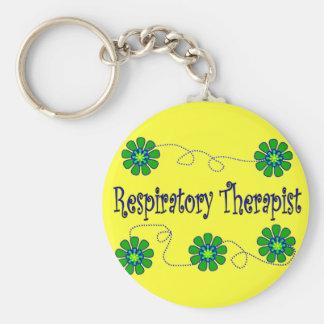 Respiratory Therapist Retro Flowers Design Keychain
