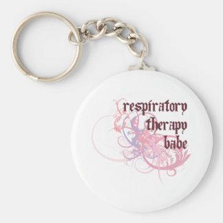 Respiratory Therapy Babe Basic Round Button Keychain