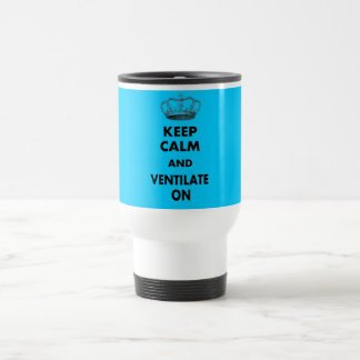 "Respiratory Therapy Gifts ""Keep Calm and..."" 15 Oz Stainless Steel Travel Mug"