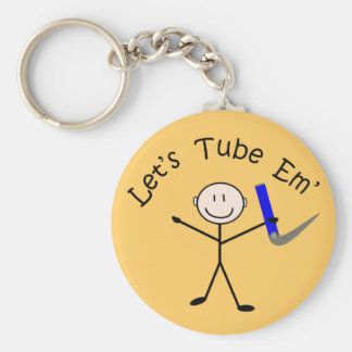 "Respiratory Therapy Stick Person ""Let's Tube Em"" Keychain"