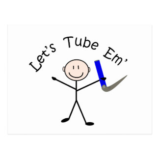 """Respiratory Therapy Stick Person """"Let's Tube Em"""" Postcard"""