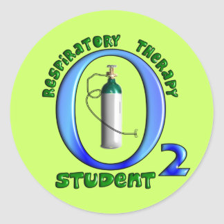 Respiratory Therapy Student O2 Tank Design Classic Round Sticker