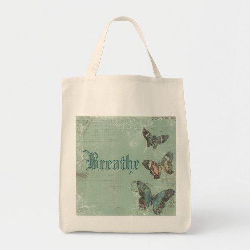 Respire el tote del ultramarinos de la mariposa bolsa tela para la compra