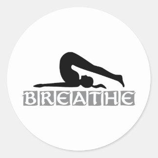 RESPIRE la yoga Pegatina Redonda