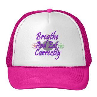 Respire y coma correctamente gorras