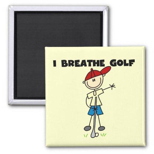 Respiro las camisetas y los regalos del golf imán de frigorífico