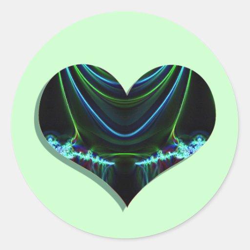 resplandor 1 del corazón pegatina redonda