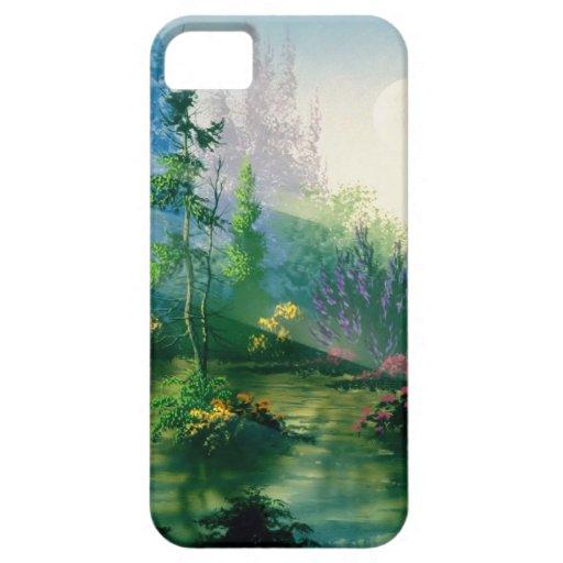 Resplandor abstracto de la madrugada del jardín iPhone 5 funda