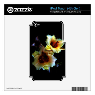 Resplandor amarillo de los lirios iPod touch 4G calcomanías