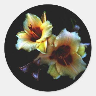 Resplandor amarillo de los lirios pegatina redonda