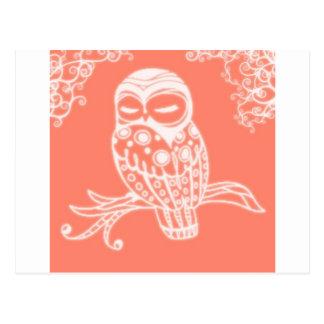 resplandor anaranjado .jpg del búho tarjeta postal