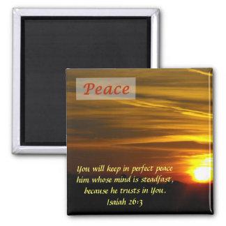 Resplandor brillante - paz imán cuadrado