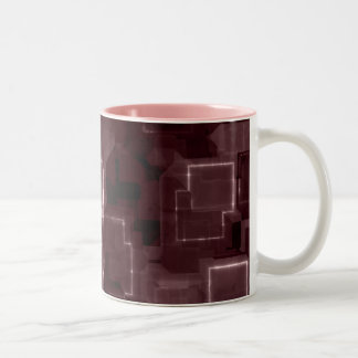 Resplandor cibernético rosado taza de café de dos colores
