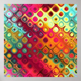 Resplandor de cristal de los círculos abstractos f póster