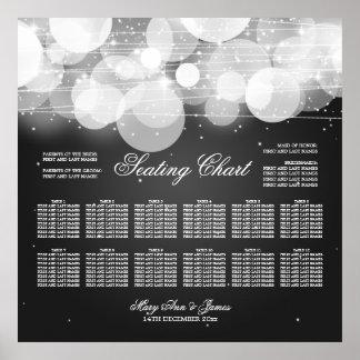 Resplandor de la carta del asiento del boda y negr póster