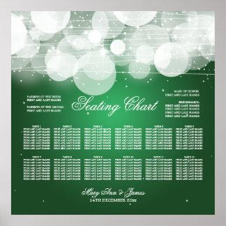 Resplandor de la carta del asiento del boda y verd poster