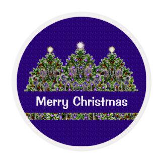 Resplandor de la estrella del árbol de navidad láminas de glaseado redondas