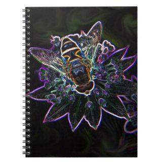 Resplandor de la flor del abejón libro de apuntes con espiral