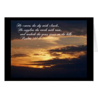 Resplandor de la Gloria-Puesta del sol con escritu Tarjeton