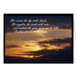 Resplandor de la Gloria-Puesta del sol con escritu Tarjeta