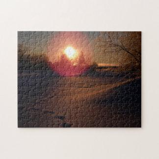 Resplandor de la salida del sol rompecabeza con fotos