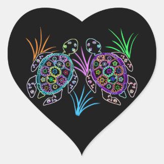 Resplandor de la tortuga de mar pegatina en forma de corazón