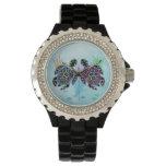 Resplandor de la tortuga de mar relojes de pulsera