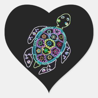 Resplandor de neón de la tortuga pegatina en forma de corazón