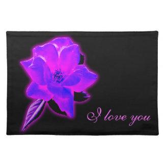 Resplandor de neón púrpura color de rosa místico manteles individuales