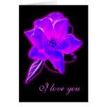 Resplandor de neón púrpura color de rosa místico tarjeton