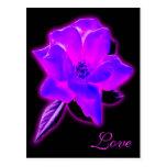 Resplandor de neón púrpura color de rosa místico postal